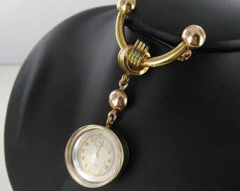 Vintage 1940s Goldfilled Watch Pin/Pendant (Runs!)