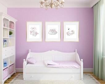 Ballet Dancer Print, White Swan Print, Ballerina Art, Teen Girl Room Decor