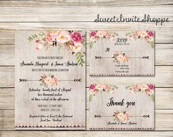 Watercolor Floral Wedding Invitation Suite, Boho Floral Wedding Invitation Set, Rustic Wedding, Tribal Wedding Invitation, Peonies, Roses