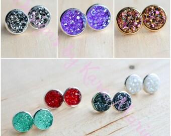 SALE!!! 36 colors - 12mm Druzy Stud Earrings in silver or gold. Druzy Earrings - druzy earring - sparkle earrings - bridesmaid gifts