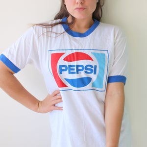 Vintage PEPSI Tee.....colorful. red white blue. screen stars
