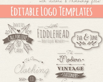 Modern Vintage Style Logo Templates Set 4 // Editable Logo // Small Business // Design // Photoshop PSD // Vector EPS // Commercial Use