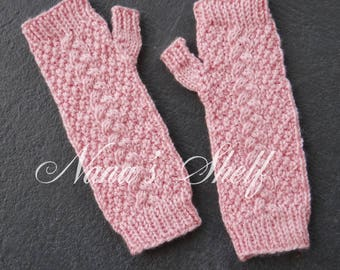 Girls Cable/Moss Fingerless Gloves for