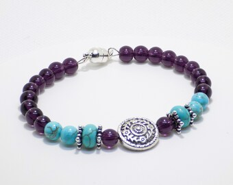 Turquoise and Purple Bracelet, Silver and Turquoise Bracelet, Handmade Beaded Bracelet, Mothers's Day Gift, Gift For Her, Bohemian Style