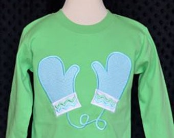 Mittens Applique Shirt or Onesie Boy or Girl Choose your color!