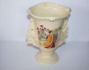 Large Antique/Vintage Ceramic Crown Devon Vase - Painted Transfer Japanise Design / MEMsArtShop.