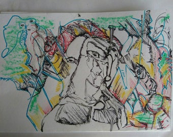 Drawing on paper. Mixed techniques.  23 cm x 32 cm. ORIGINAL work