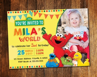 Elmo Invitation, Elmo Birthday Invitation, Sesame Street Invitation, Elmo's World Invite
