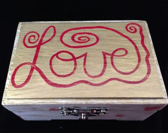 LOVE, Handpainted and Decoupaged Ring Box