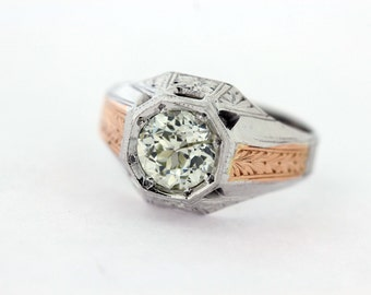 18K White and Rose gold Ring with Large Diamond