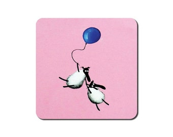 Holding On To Ewe Coaster - quirky sheep art painting gift