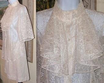 Vintage Lace Shirt - Ruffle Bib - Short Sleeves - High Mandarin Collar - Cream Floral Lace