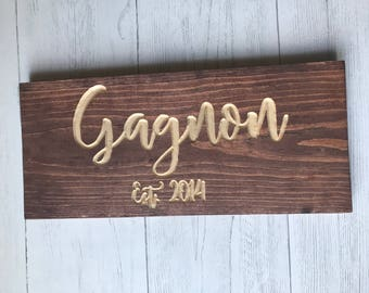 Custom Last Name Sign | 8x16 | Wood Sign | Family Sign | Wedding Gift | Wall Decor | Couples Gift | Anniversary Gift | Wedding Date |