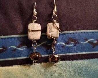 Wrapped Stone Jewel Earrings