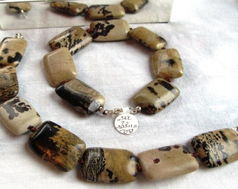 Bracelet of Dendritic Jasper Puffed Rectangle Beads on Hand Knotted Silk with Sterling Findings