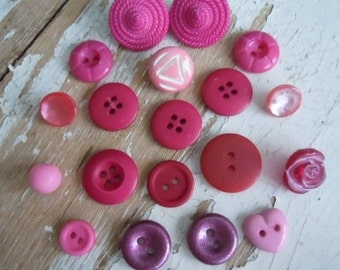 Pretty in Pink Vintage Buttons