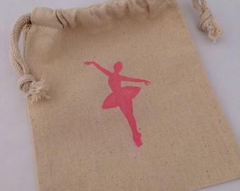 Ballerina Favor Bags: Pink Ballerina Drawstring Muslin Favor Bags, Ballet Theme Gift Bag