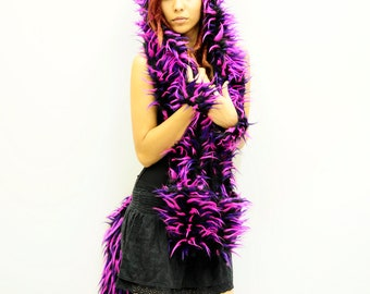 Neon pink, purple, and black monster cat hood with ears, furry animal scoodie