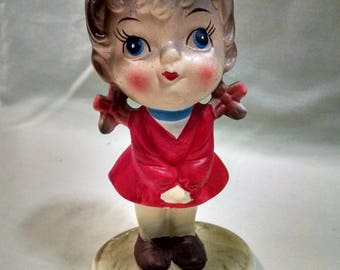 Big Eyed Girl in Red a Vintage Bisque Figurine