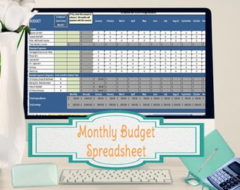Monthly Budget Spreadsheet, Home Finance Management, Excel Worksheet Tracks Expenses & Income