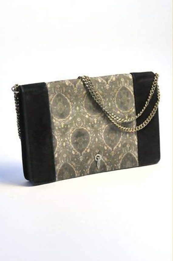 1920-1930's Cartier tapestry pattern silk and velvet evening hand bag