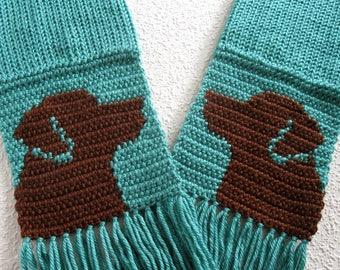 Chocolate Labrador Retriever Scarf.  Aqua knit scarf with brown labs. Labrador dog gift