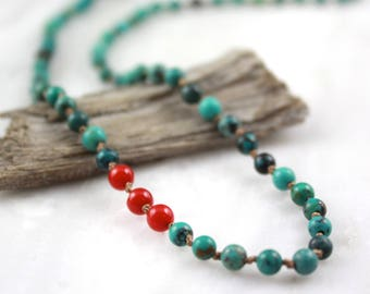 Knotted Turquoise and Coral Necklace