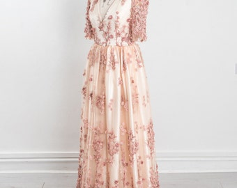 Sakura dusky rose and blush lace wedding dress