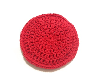 Red Crocheted Cotton And Nylon Netting Dish Scrubbie- Large Flat