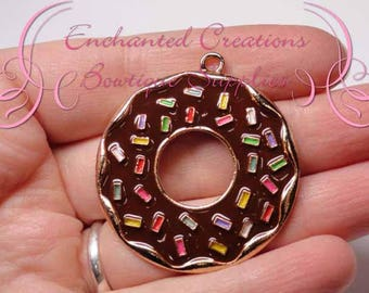 "2"" Brown with Multicolor Sprinkles Sweet Treat Donut, Chunky Pendant, Bookmark, KeyChain, Bookmark, Zipper Pull, Planner Charm, Purse Charm"