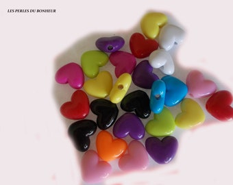 Set of 10 acrylic heart beads