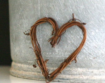 "Natural Grapevine Heart 3"" Wreaths Rustic wedding woodland decoration cake topper"