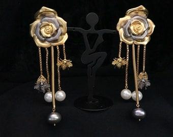 IndoWestern Rose-Bee Spring Earrings