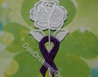 Custom Lace Rose with awareness ribbon