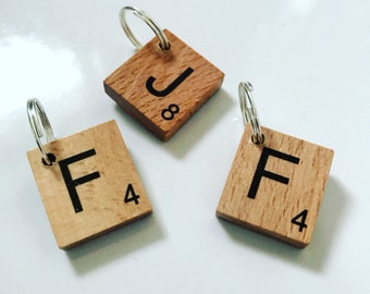 Dog/cat wooden Scrabble tile initial collar charm