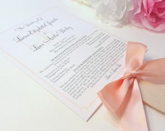 Peach Program Fans, Peach Wedding Programs, Wedding Program Fans, Ceremony Program Fans, Beach Wedding Programs - Elegant Border Fan Sample