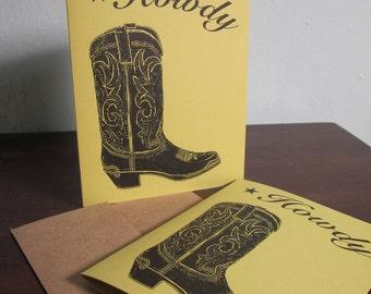Howdy Cowboy Boot SALE - 12-Pack Gocco sérigraphié Art cartes