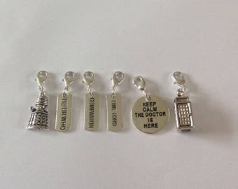 Dr who charms / stitch markers/ zip clips