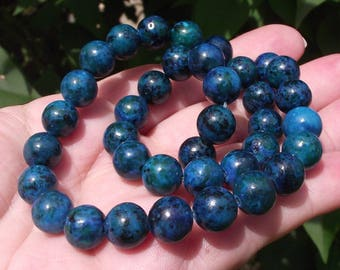4 Azurite Chrysocolla 10MM multicolored green beads. AT7