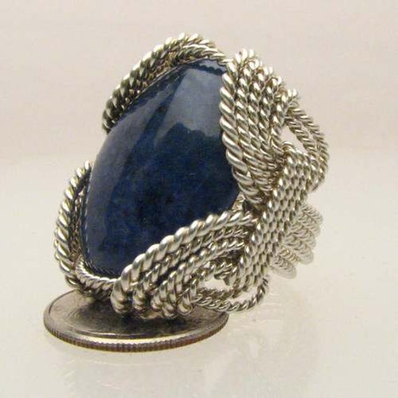 Handmade Solid Sterling Silver Wire Wrap Blue Sodalite Ring