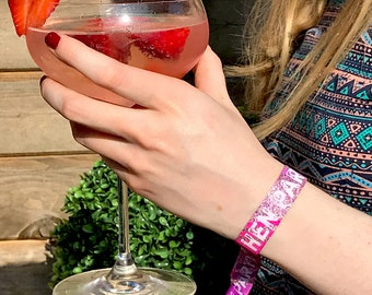Hen Party Wristbands (Rose Gold, Pink & Purple) Hen Do accessories ~ hens party wristband bracelets