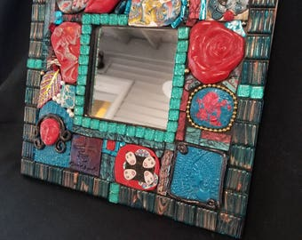 Arty, colorful mosaic mirror
