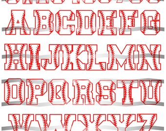 Baseball Letters, SVG, Baseball Font, Laces, Cut File, Baseball Numbers, Varsity Letter, Sports Letters, Cricut, Silhouette, Baseball Design