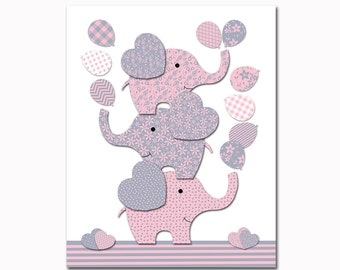 Elephant nursery decor pink grey nursery wall art for baby girl room decor playroom decor nursery artwork kids room decor children room art