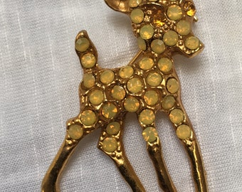 Vintage Bambi brooch 1940s to1950s yellow glass rhinestone diamante brooch 4.8cm