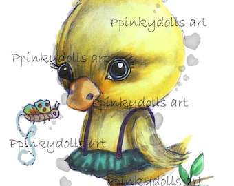INSTANT DOWNLOAD Digital Digi Stamps..by Chrishanthi's art,Baby duck''