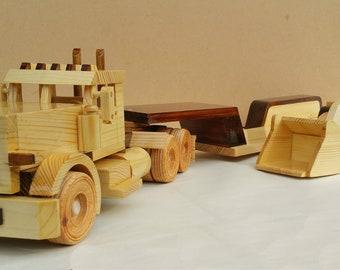 Peterbilt 389 Truck + Tractor + Hi-Loader Wood Toy Play Set