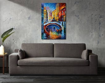 Printed Canvas Picture Art Venice Italy Waterway Stretcher Frame Strips Included - Free Shipping - Home Decor Photography