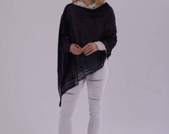Mohair knit poncho, wool poncho, mohair sweater poncho, black shawl, mohair shawl, scarf shawl, wool wrap, pashmina, Christmas gift for her