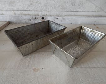 Embossed Waffle Metal Bread Baking Pans - Set of Two Ovenex Bread Pans - Vintage Kitchen Bakeware - Industrial or Country Farmhouse Kitchen